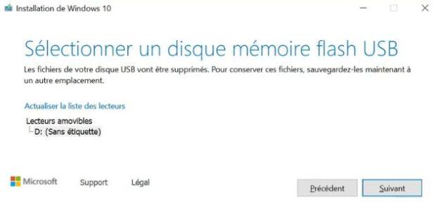 windows-10-selectionner-disque-memoire-flash-usb