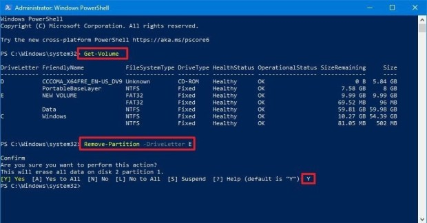 powershell - drive letter supprimer partition