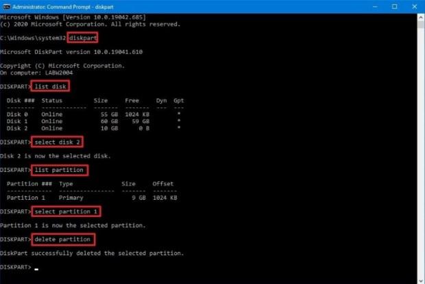 Supprimer partition - commande partition