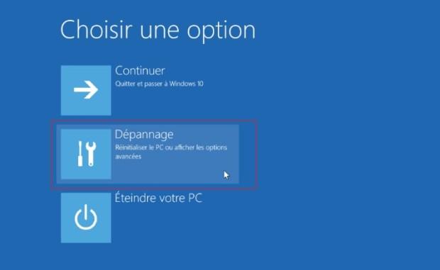 Windows 10 - option dépannage