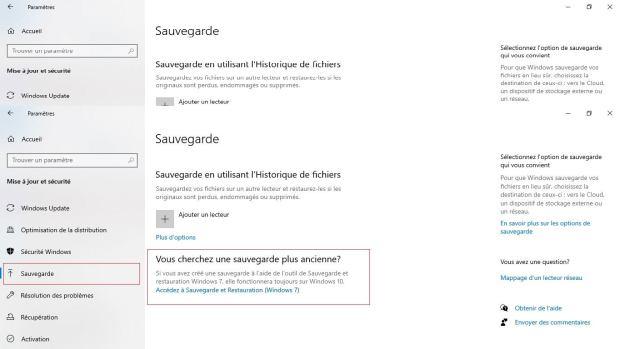 Windows 10 - paramètres sauvegarde