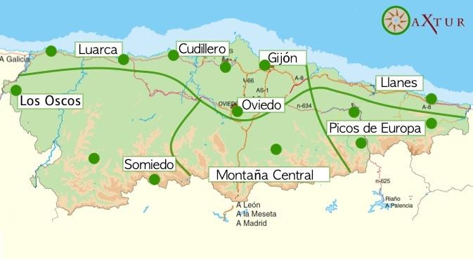 mapa vistar asturias 5 dias puntos principales