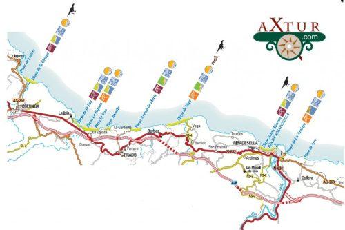 mapa playas asturias Colunga