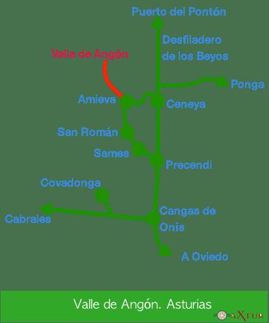 valle de angon esquema de como llegar.