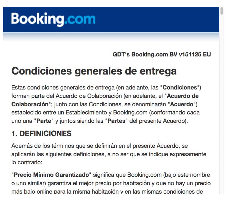 condiciones del contrato booking.com