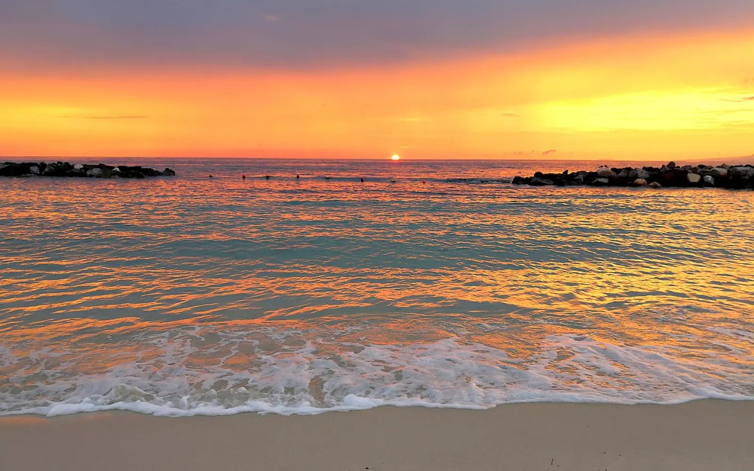 Beautiful and colorful sunset at the beach Garza Blanca