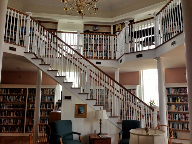 Interior of Chincoteague Library - don't you just love that staircase and mezzanine??