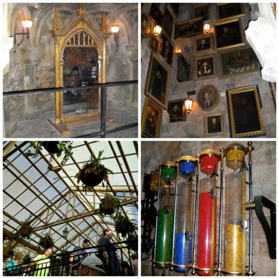 Here at Hogwarts graphic travelogue comparison photo of ride interior