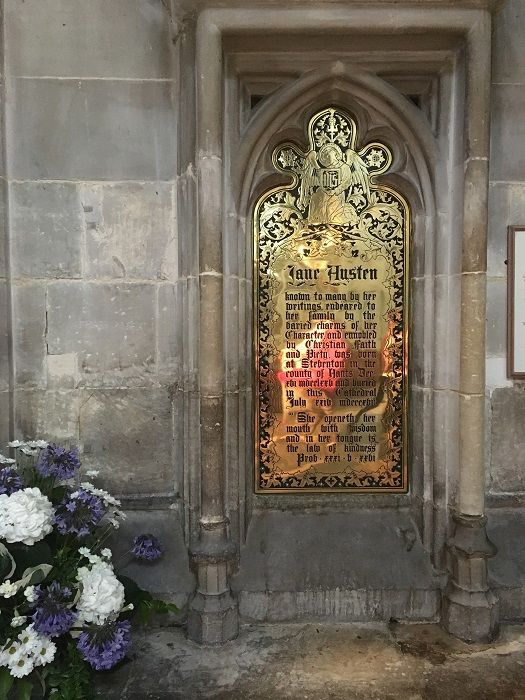 Jane Austen memorial plaque in Winchester Cathedral.