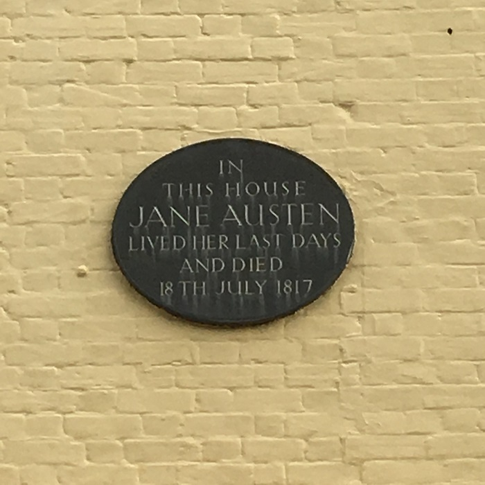 Plaque on last residence of Author Jane Austen.