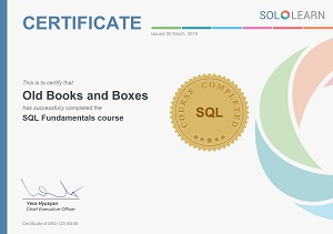 SoloLearn Certificate for SQL