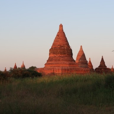 Bagan pagoda at sunset