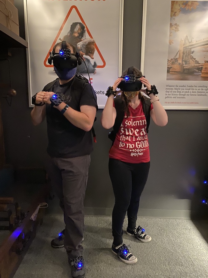 Wearing VR gear at Harry Potter New York
