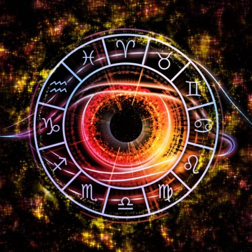 Arrangement of Zodiac symbols, eye graphic and abstract design elements on the subject of astrology, fate, horoscope and birthdays
