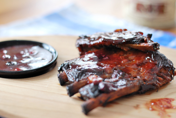 Slow Cooker Ribs with Blueberry BBQ Sauce