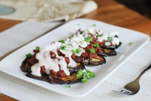Spiced Beef over Grilled Eggplant