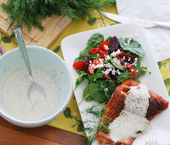 Salmon with Creamy Mustard Dill Sauce