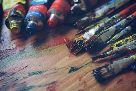 Paint tubes and paintbrushes