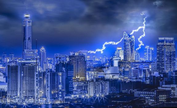 Thunderbolt in the big city, with night urban