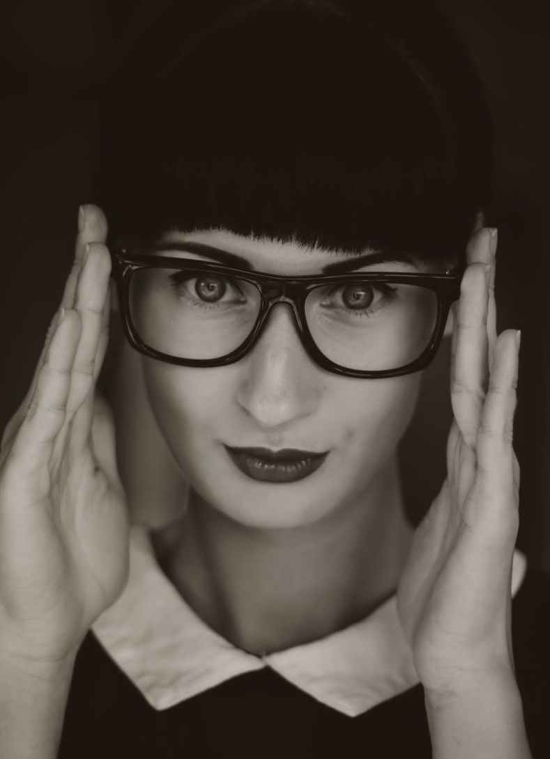 glasses woman person face