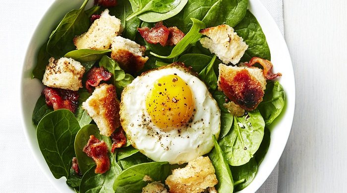 Real Simple Feb 2017 DIN Spinach Bacon Fried Egg Salad