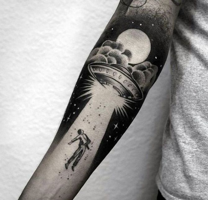 tattoo-trends-creative-alien-abuduction-mens-forearm-sleeve-tattoo-with-negative-space-design