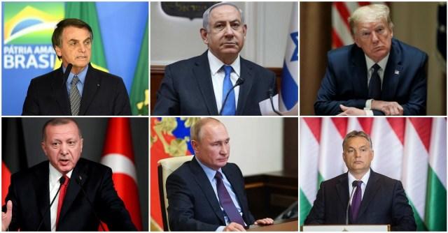 ترامب ونتنياهو وجير بولسونارو وفيكتور أوربان ورجب طيب أردوغان وفلاديمير بوتين