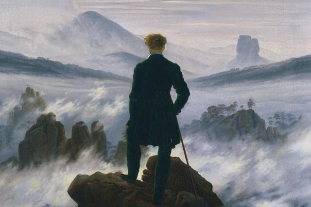 لوحة متجول فوق بحر من الضباب للرسام الألماني كاسبر ديفيد فريدريك