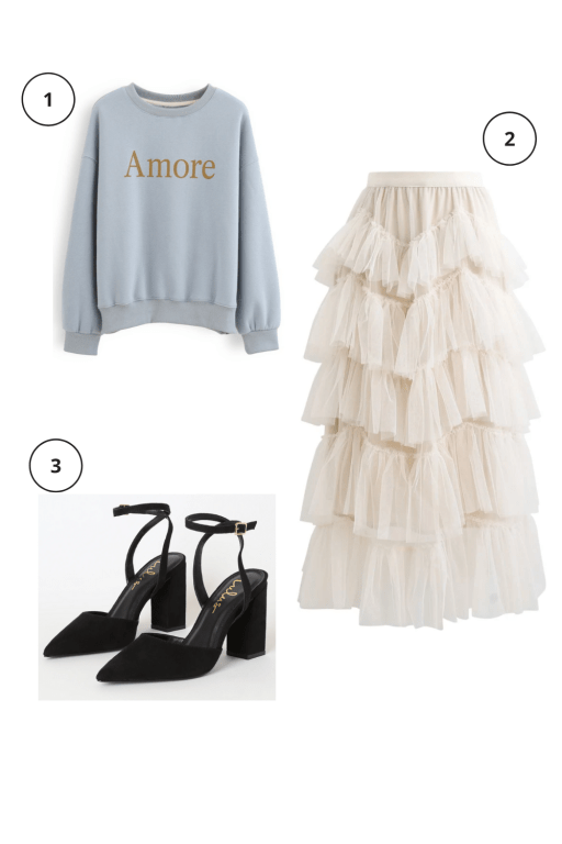 Valentine's Day Outfits Not pink or red  Blue heart sweater + crème tulle midi skirt + closed-toe black chunky heels