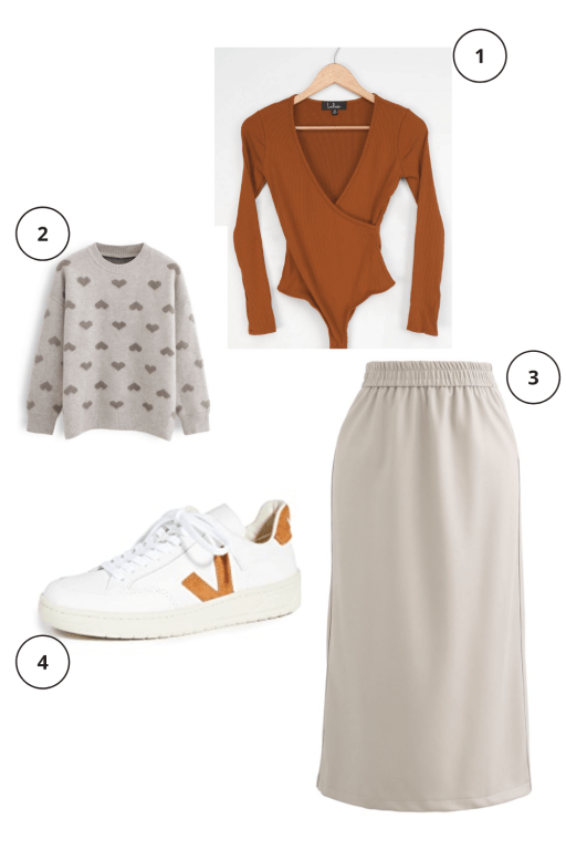 Valentine's Day Outfits Not pink or red  brown heart sweater, orange long sleeve bodysuit, cream leather midi pencil skirt, V sneakers