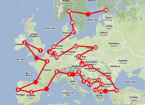 Europe Train Challenge Route