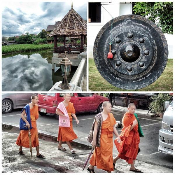 Buddhist monks wear robes in different shades of Saffron and Orange
