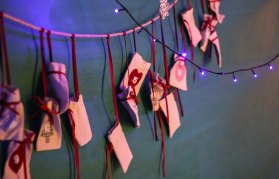 Stockings and pouches hanging in Juniors' hallway