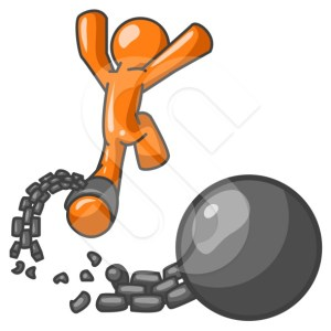 An orange man escaping from a ball and chain, which can be a good concept on breaking from a contract, divorce, or escaping adversity.