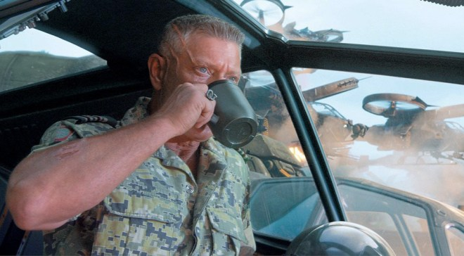 Colonel Quaritch enjoys his coffee while destroying lives, families, and culture.