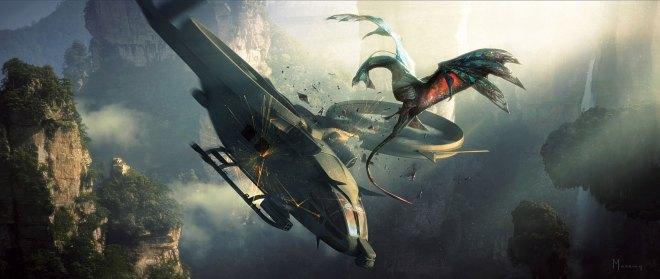 An ikran assaults a weapon of war.
