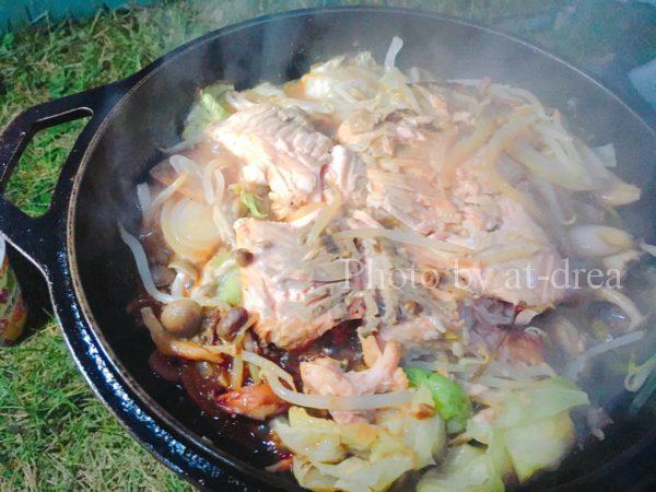 滋賀から北海道家族旅行キャンプ夕食