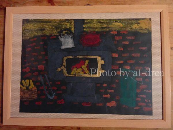 長女の版画・我が家の薪ストーブ