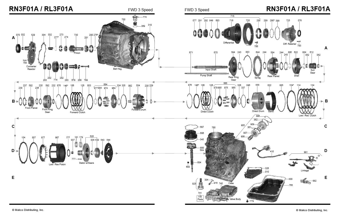 Transmission Repair Manuals Rl3f01a Rn3f01a