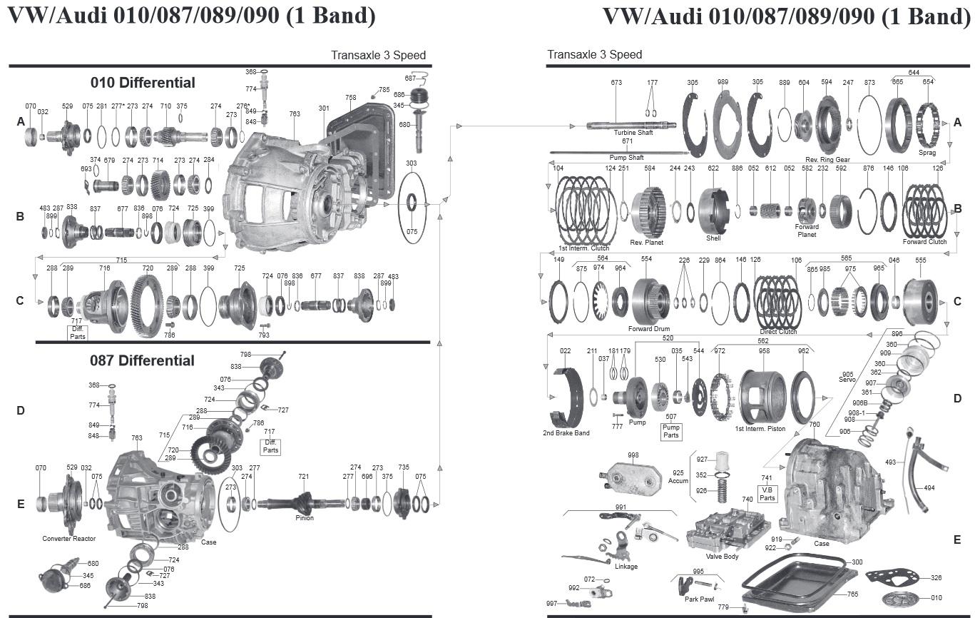 Transmission Repair Manuals 010 Vw Audi 087 089 090