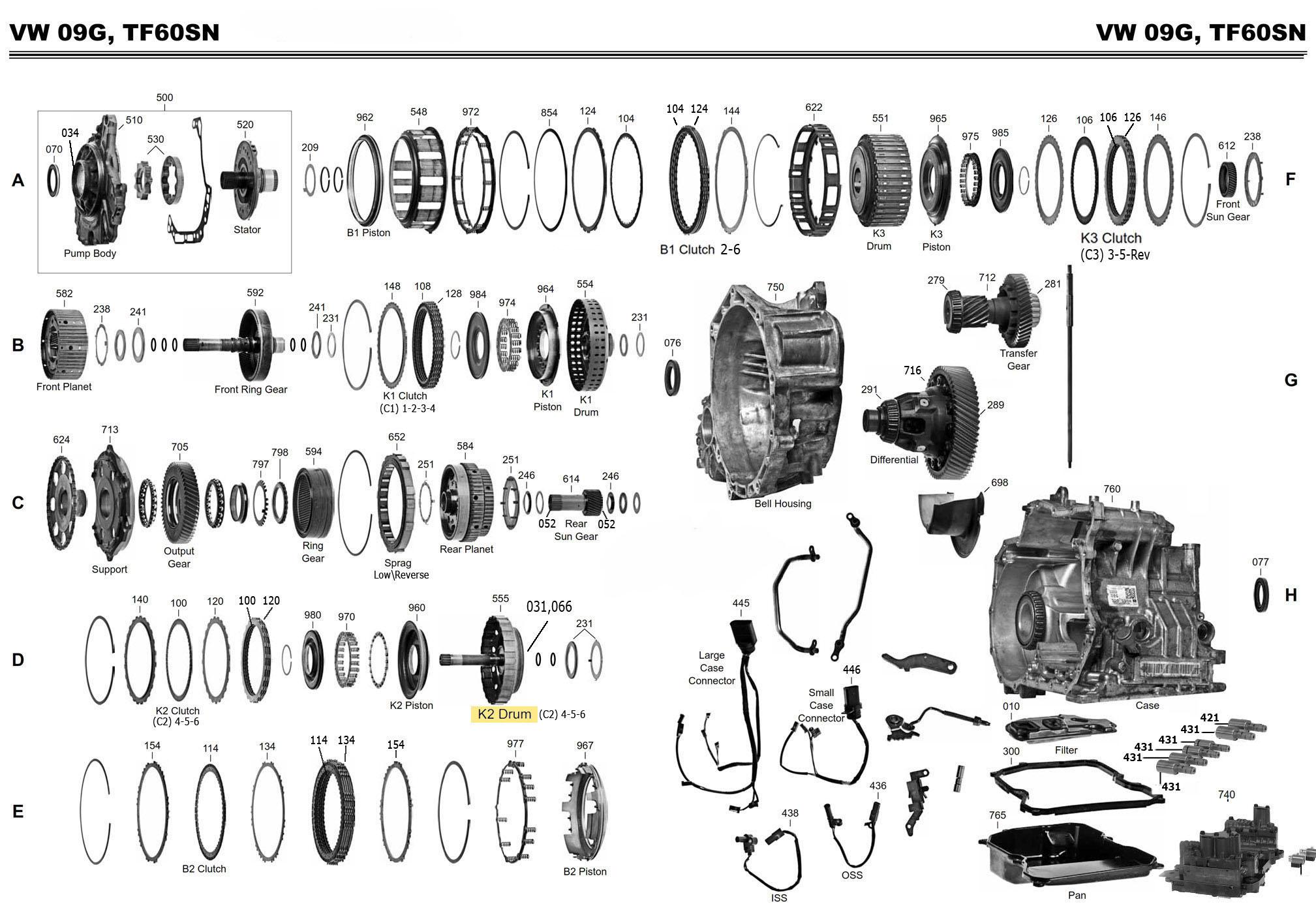 Transmission Repair Manuals 09k 09g 09 Aw Tf 60 Sn 61