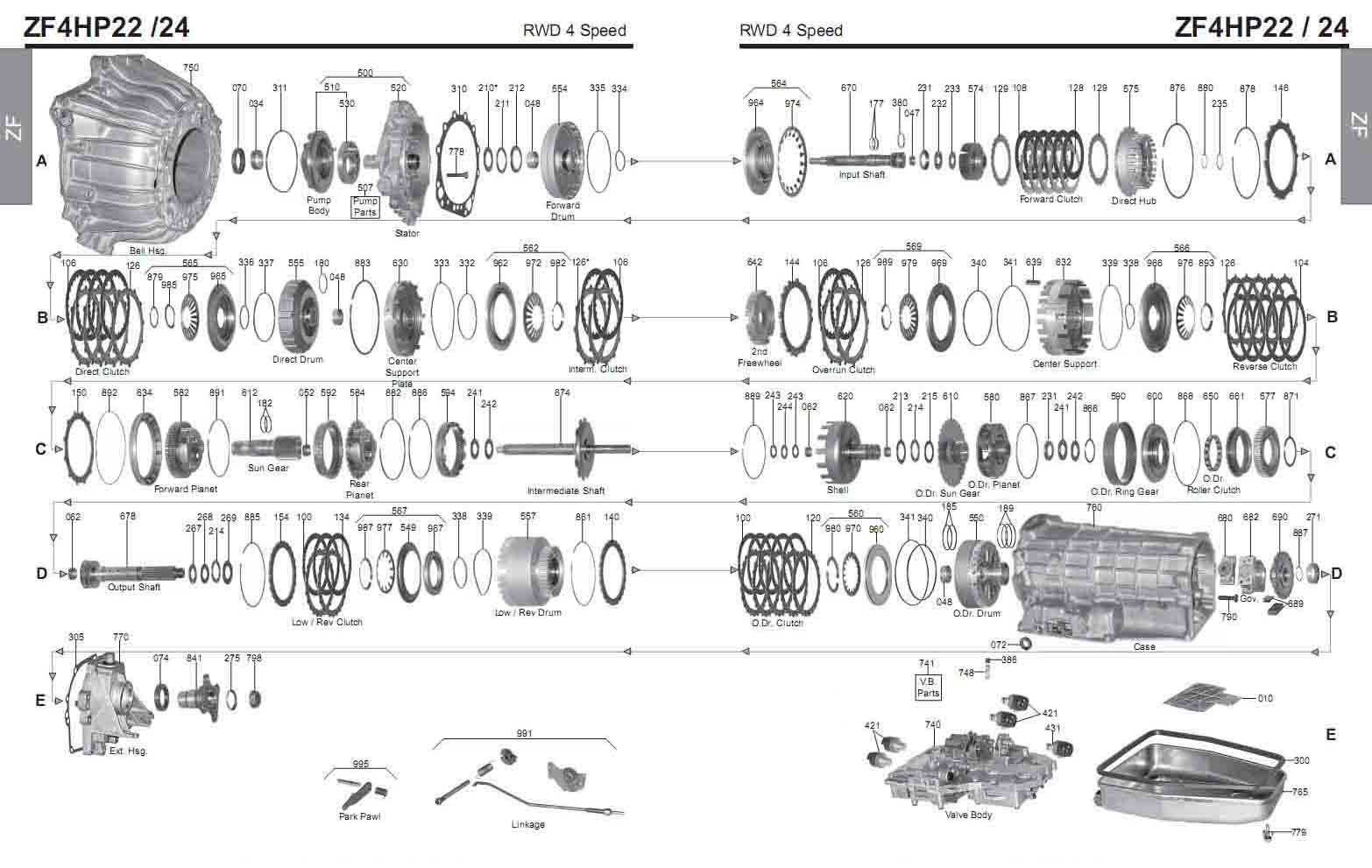 Transmission Repair Manuals Zf 4hp22 4hp24