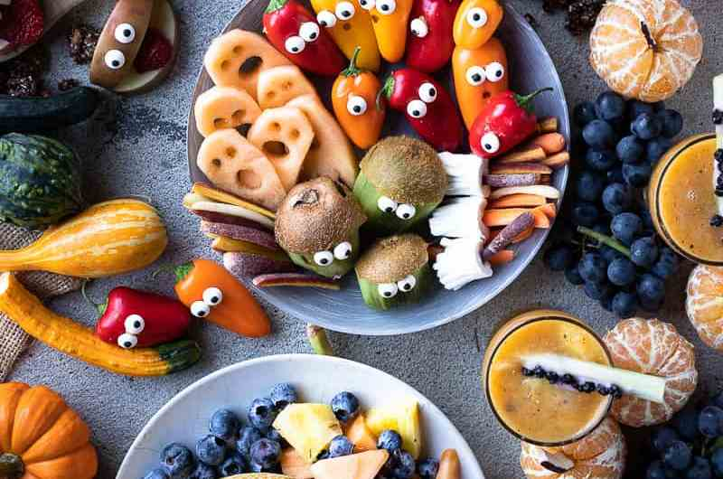 Healthy Halloween snack ideas full of fresh fruit and veggies