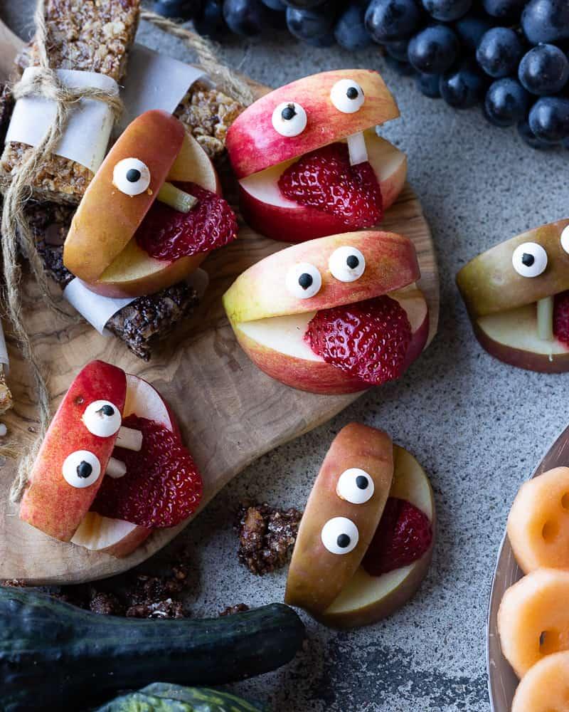 Apple monsters Halloween snack idea