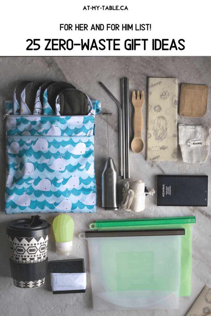 zero waste items scattered on a marble table, eco-friendly gift idea list