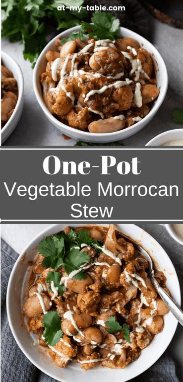 Pin of a one-pot vegetarian moroccan stew, easy vegan dinner recipe