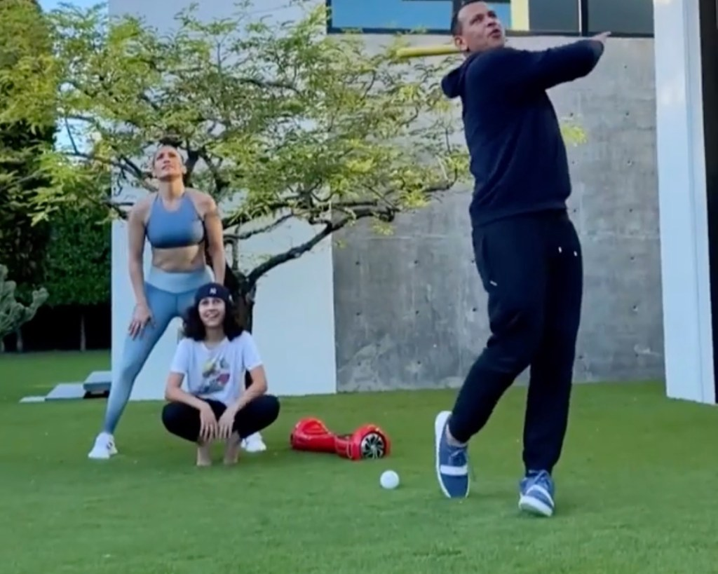 A-Rod Puts On Instagram Live Baseball Clinic With His and JLo's Daughters