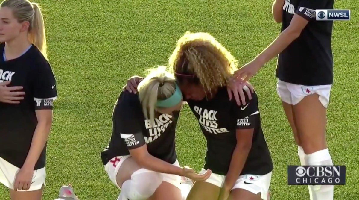NWSL Stars Julie Ertz and Casey Short Share an Emotional Moment During the National Anthem While Wearing Black Lives Matter T-Shirts