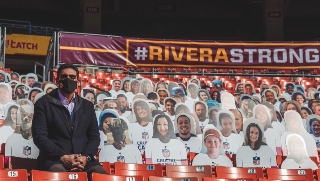 Washington Football Coach Ron Rivera Surprised With Hundreds of Cardboard Cutouts Supporting Him