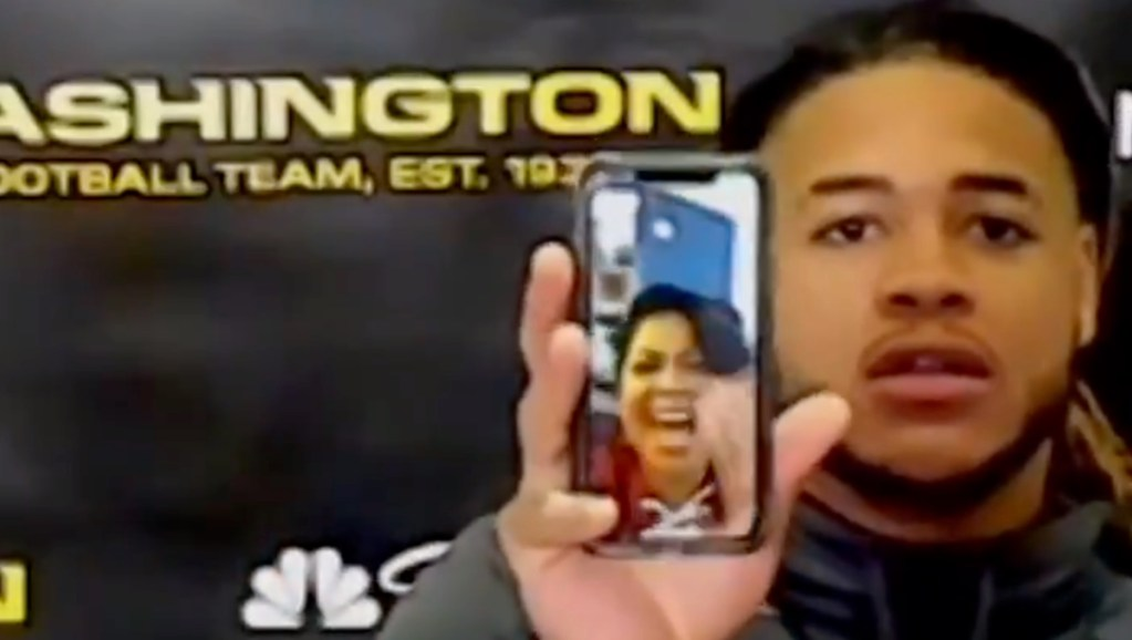 Chase Young On FaceTime With Mom During Press Conference After Big Game And Defensive Touchdown